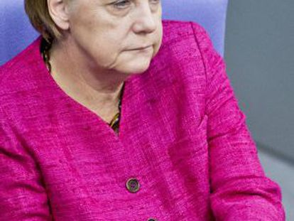 Angela Merkel durante una sesión del Bundestag, el parlamento alemán.