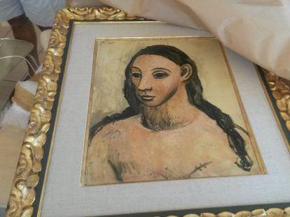 El cuadro de Picasso 'Cabeza de mujer joven', que fue incautado en Córcega.