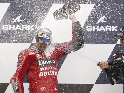 Miller y Quartararo celebran en el podio del GP de Francia.