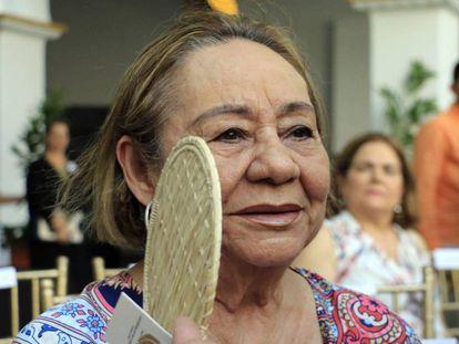 Mercedes Barcha en la presentación del busto que se erigió en el Claustro de la Merced en Cartagena (Colombia) en honor de García Márquez, el 22 de mayo.