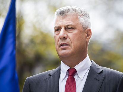 El presidente de Kosovo. Hashim Thaçi, durante la rueda de prensa este jueves en Pristina.