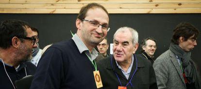 Joan Herrera y Ernest Maragall, en la Asamblea Abierta de ICV, el pasado febrero.