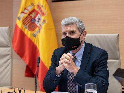 El presidente de la Corporación RTVE, José Manuel Pérez Tornero, en una Comisión Mixta de Control Parlamentario de la Corporación RTVE y sus Sociedades el  29 de abril de 2021.