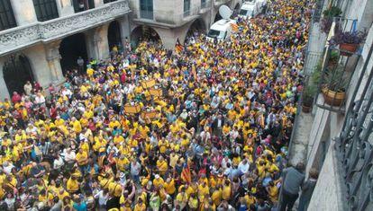 Una imagen de la concentración en contra de la suspensión en Girona.
