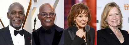 Desde la izquierda, Danny Glover, Samuel L. Jackson, Elaine May y Liv Ullmannm, los Oscar de honor de 2022.