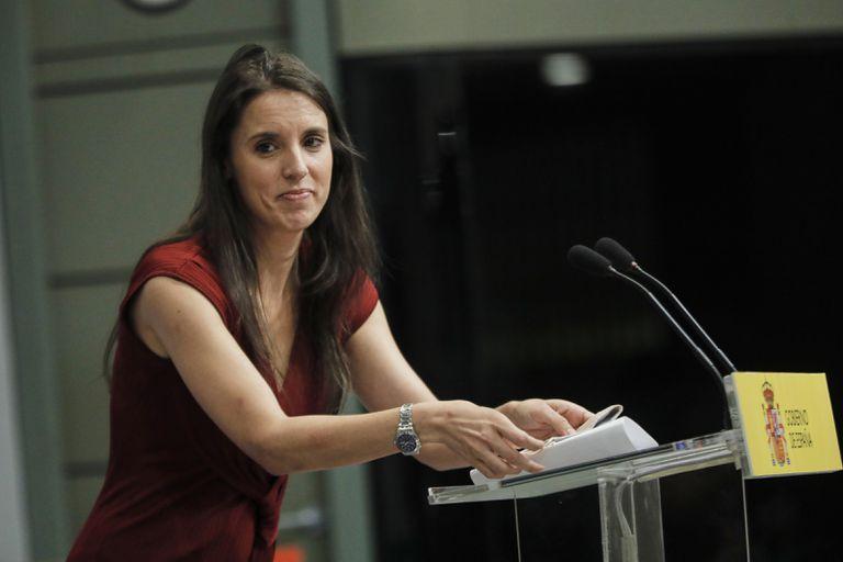 La ministra de Igualdad, Irene Montero, durante un acto la semana pasada en el ministerio de Trabajo.