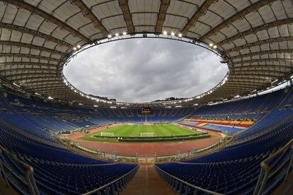 Vista general del Olímpico de Roma durante un partido entre el AS Roma y el Shakhtar Donetsk.