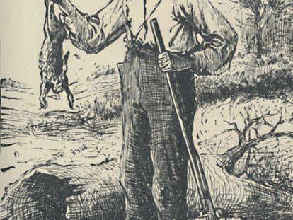 Huckleberry Finn, el personaje de la novela de Mark Twain, visto por Edward Kemble (1884).