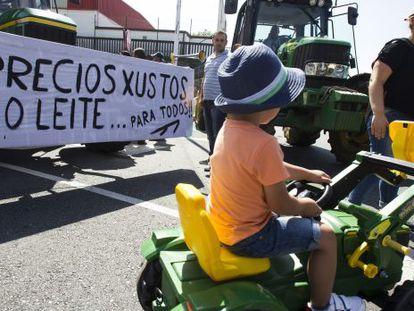 Imagen de la 'tractorada' celebrada este martes en Santiago de Compostela.