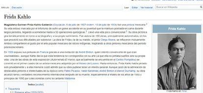 Página de Frida Kahlo en la Wikipedia en español.
