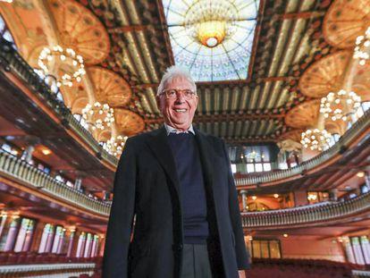 Raimon, ayer en el Palau de la Música Catalana, donde ratificó su retirada.