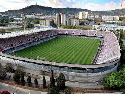 Vista del Miniestadi del FC Barcelona en el barrio de Les Corts.