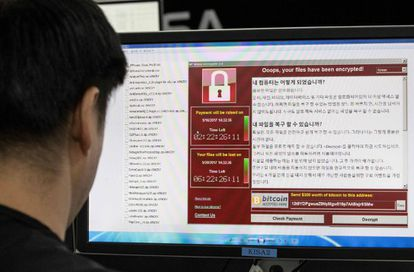 Imagen del 'ransomware' en un ordenador en la Korea Internet and Security Agency (KISA) en Seúl.