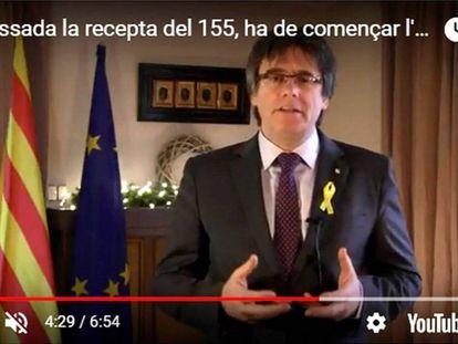 Puigdemont, durante su discurso de fin de año difundido desde Bélgica a través de las redes sociales.