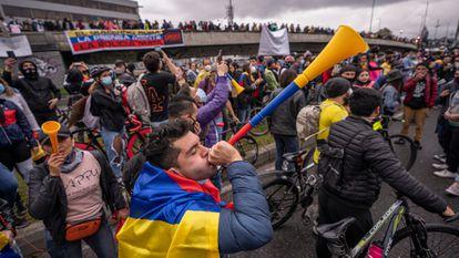 Una de las protestas en contra del Gobierno de Iván Duque, en Bogotá (Colombia).