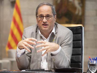 Quim Torra, durante una reunión telemática de la Conferencia de Presidentes autonómicos..
