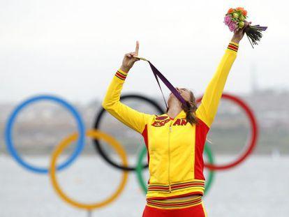 Alabau celebra su victoria en los Juegos de Londres.