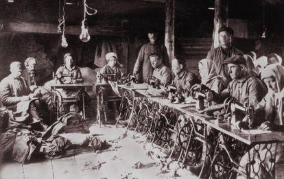 Trabajadores de un gulag en la antigua Unión Soviética.