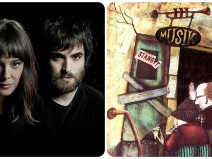 Belen Cuesta y Ricardo Gómez, los actores principales de 'El hombre de la almohada' y una imagen de la animación sueca 'Franz y el director de orquesta'.
