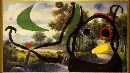 'Personajes en un paisaje cercano al pueblo', una de las pinturas 'pompier' de Joan Miró de 1965. / FUNDACIÓN JOAN MIRÓ