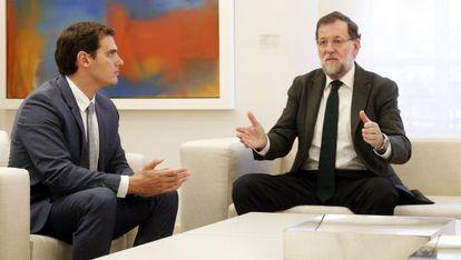 Rivera y Rajoy durante su reunión en La Moncloa.