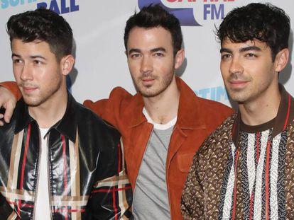 Nick, Kevin y Joe, los Jonas Brothers, en Londres el 8 de junio de 2019.
