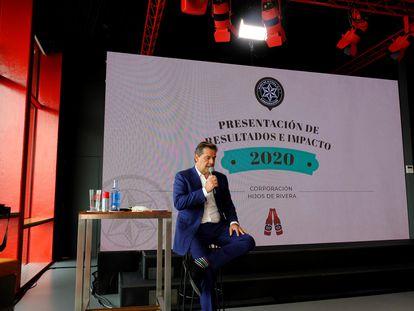 El consejero delegado de Hijos de Rivera, Ignacio Rivera, anuncia los datos de la compañía.
