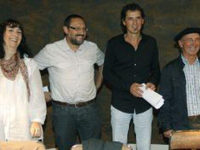 Los dirigentes de la izquierda 'abertzale' Miren Legorburu, Txelui Moreno, Niko Moreno y Tasio Erkizia, en Bilbao.