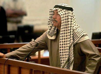 Alí el Químico, durante una sesión del juicio por la matanza de miles de kurdos el pasado 24 de junio en Bagdad.