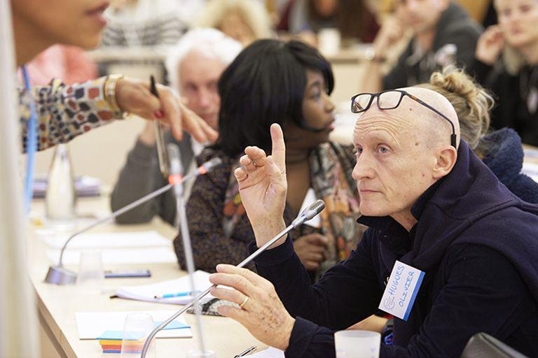 Hugues-Olivier Brillouin, en una de las sesiones de la Convención Ciudadana del Clima, en Francia.