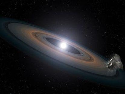 Una estrella moribunda se transforma en enana blanca y consume a otra que orbita en su proximidad hasta convertirla en una enana marrón