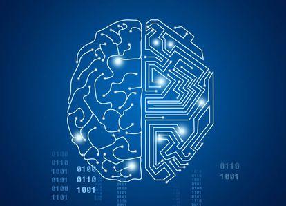 Cerebro humano cubierto con redes de Inteligencia artificial.