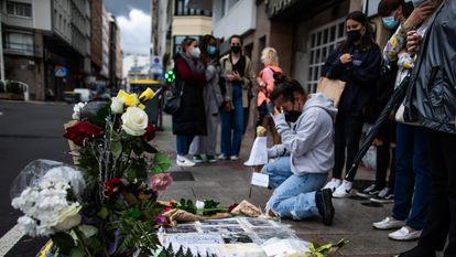 Concentración en A Coruña en repulsa por el asesinato de Samuel Luiz la noche del pasado sábado.