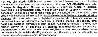 Uno de los párrafos de la carta enviada por la Asociación Española de Accionistas Minoritarios de Empresas Cotizadas al CSN.