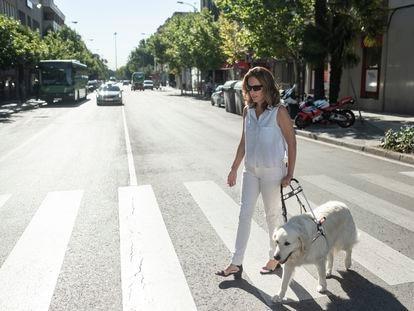 Teresa junto a Yalín paseando por una calle de Majadahonda.