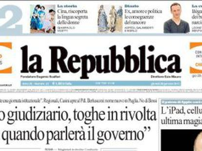Una portada del diario 'La Repubblica.