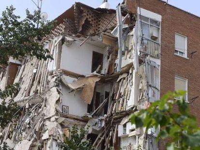 El edificio derrumbado en el barrio madrileño de Carabanchel.