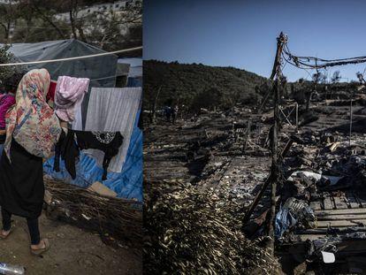 Campo de refugiados de Moira, en marzo del 2020 y en la actualidad.