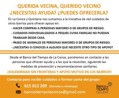 Red de cuidados en el barrio de La Concepción