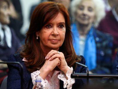 La expresidenta Cristina Fernández de Kirchner, en el juicio.