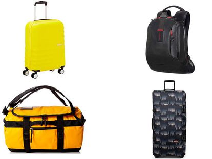 De izquierda a derecha y de arriba a abajo: maleta American Tourister, bolsa The North Face, mochila Samsonite Paradiver Light y maleta Eastpak Tranverz L.