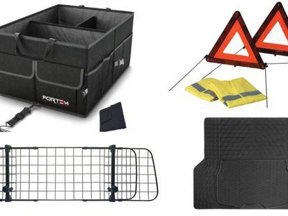De izquierda a derecha y de arriba a abajo: caja de almacenamiento plegable, rejilla separadora para mascotas, kit de dos triángulos junto con chaleco y alfombra de goma antideslizante.