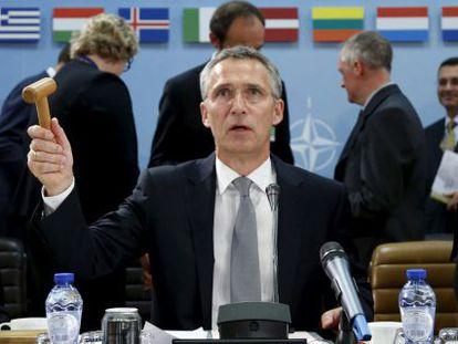 Jens Stoltenberg, secretario general de la OTAN, ayer en Bruselas.