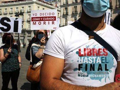 Concentración de la asociación Derecho a Morir Dignamente, el pasado 25 de junio en Madrid.