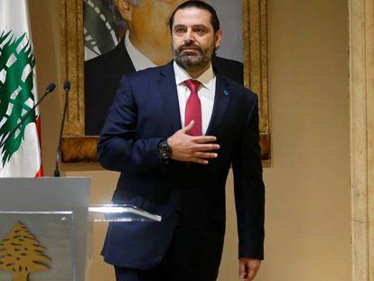 Gesto del primer ministro tras anunciar su dimisión. En vídeo, la renuncia de Hariri.