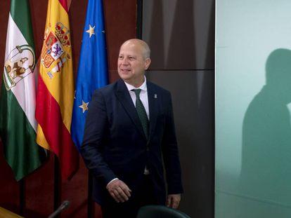 El consejero de Educación, Javier Imbroda, esta mañana en Sevilla.