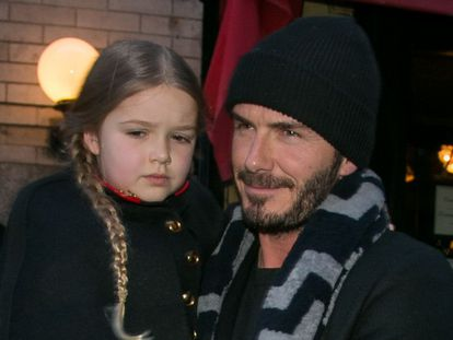 David Beckham y su hija Harper el pasado 14 de febrero en Nueva York.