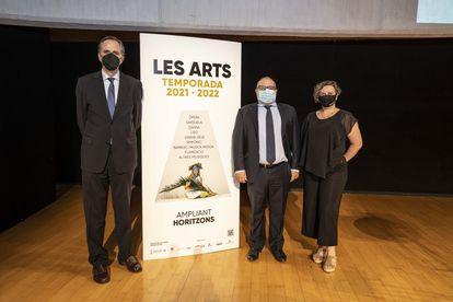 Pablo Font de Mora, Jesús Iglesias y Raquel Tamarit, en el Palau de les Arts.