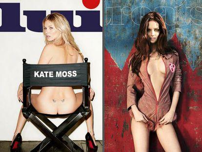 Portada de la revista 'Lui', con Kate Moss, y de 'Treats!'.