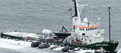 El barco de Greenpeace 'Arctic Sunrise', retenido por el Gobierno ruso.